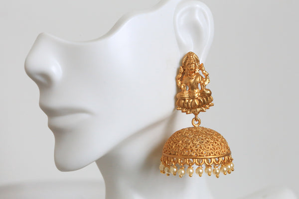 Dull Gold Temple Jhumka - AristaBeads Jewelry - 3