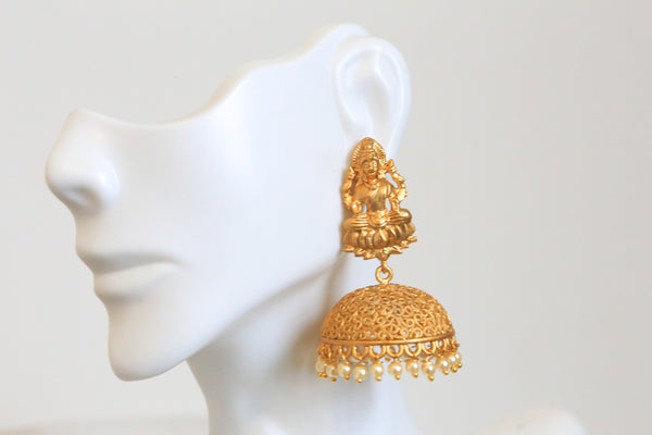 Dull Gold Temple Jhumka - AristaBeads Jewelry - 1