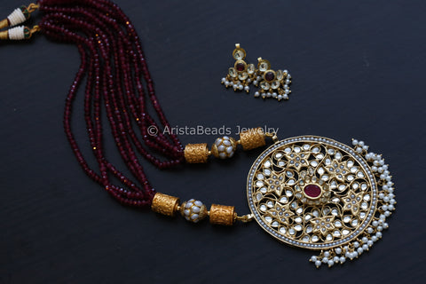Pachi Jadau Work Kundan Necklace Set  - Ruby