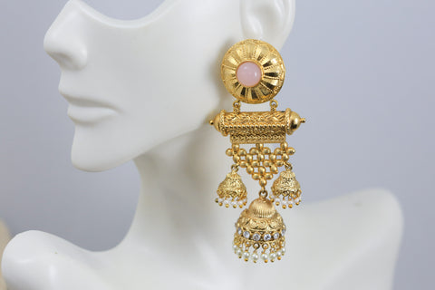 Antique Gold Jhumka - Pink