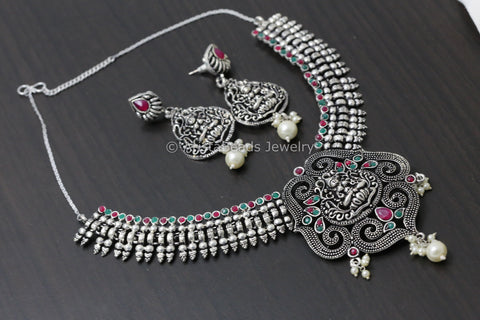 Oxidized Ruby Emerald Lakshmi Necklace