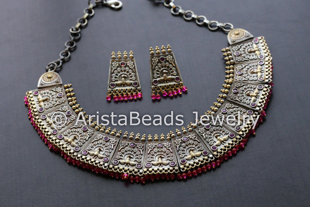 Ruby Peacock Motif Dual Tone Necklace