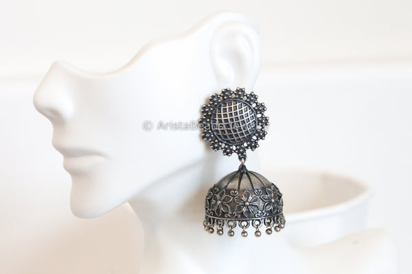 Large Silver Plated Jhumka