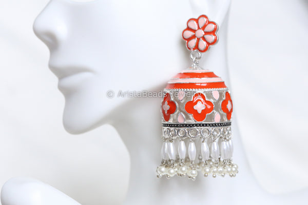 Orange Enamel Silver Finish Jhumka