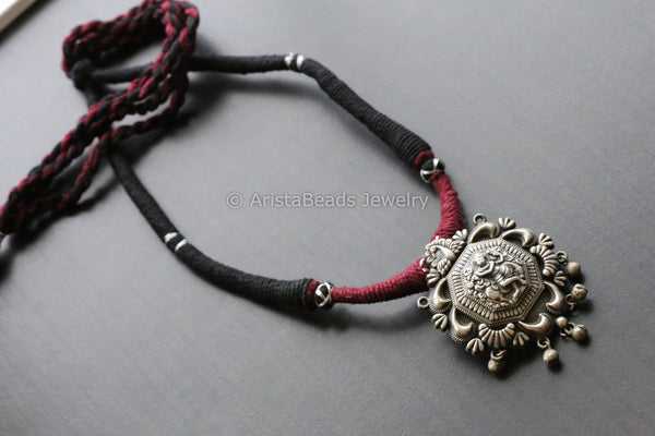 Shri Krishna Maroon & Black Thread Necklace