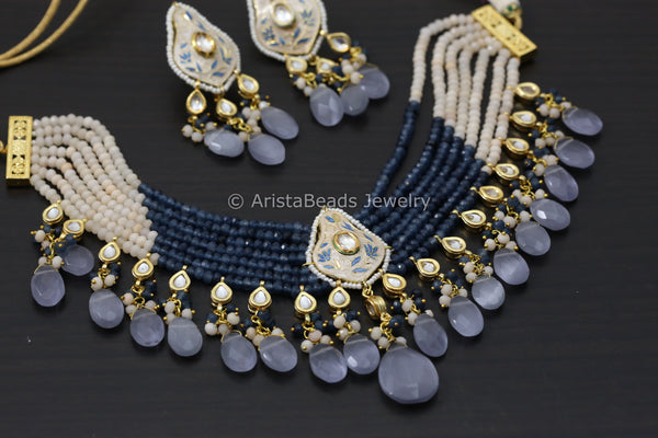 Layered Kundan Enamel Necklace Set