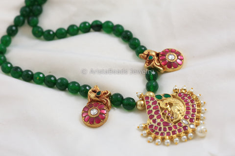 Handmade Emerald Ruby Jadau Kundan Necklace