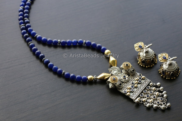Dual Tone Blue Beaded Necklace