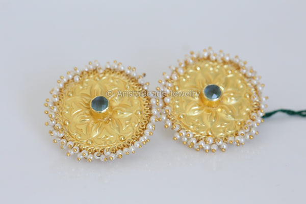 Large Matt Gold Stud - Chalcedony