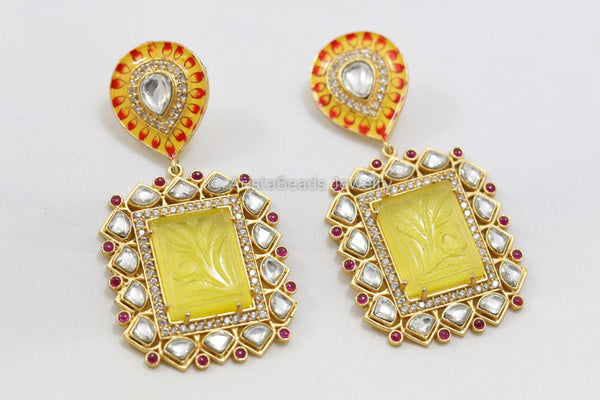 Handmade Enamel Carved Stone Kundan Earrings -Yellow