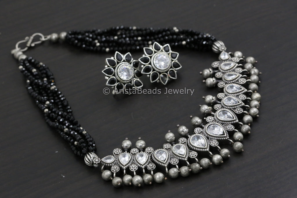 Short Necklace/Choker Set - Black