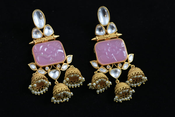 Layered Kundan Gold Jhumka -Pink
