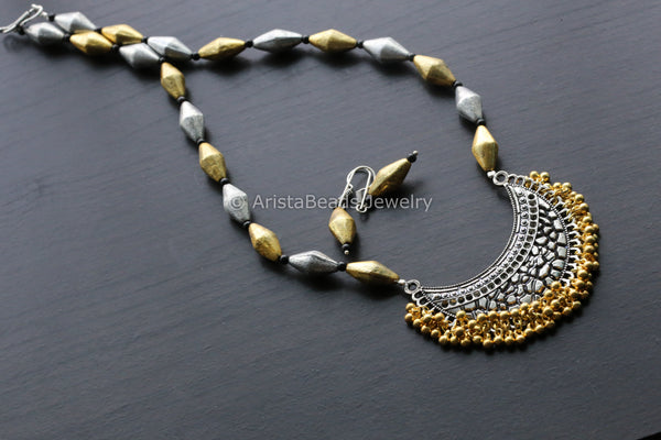 Oxidized Two Tone  Dholki Necklace