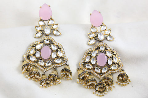 Pink Kundan Jhumka Earrings