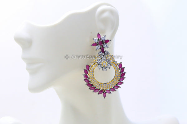 Contemporary CZ Ruby Earrings
