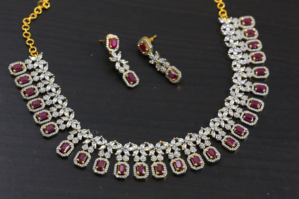 Ruby & Clear CZ Necklace Set