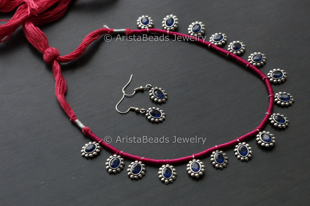 Delicate Stone Necklace Set - Pink Thread