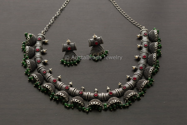 Oxidized Jhumka Necklace Set- Ruby Green