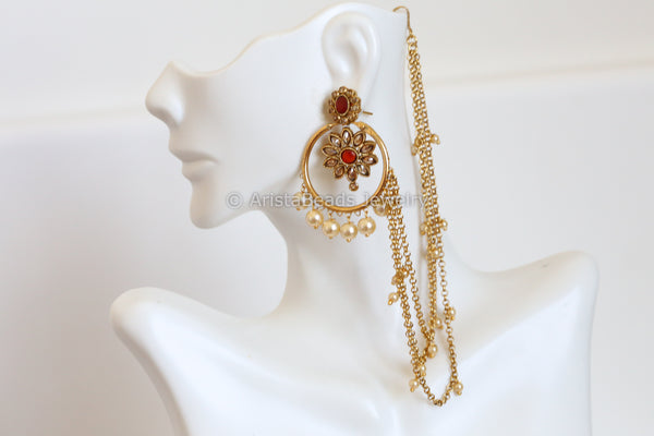 Chandbaali with Ear Chain