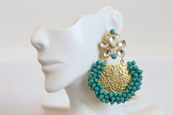 Turquoise Kundan  Earrings