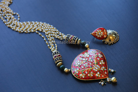 Red Green Jadau Kundan Necklace