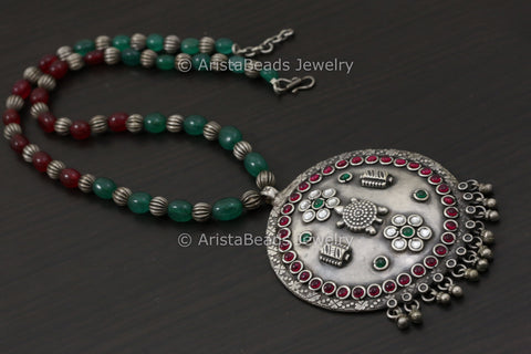 Kundan Kemp Stone Work Necklace -Ruby Emerald