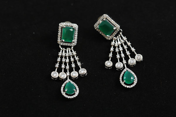 Small CZ Green Earrings