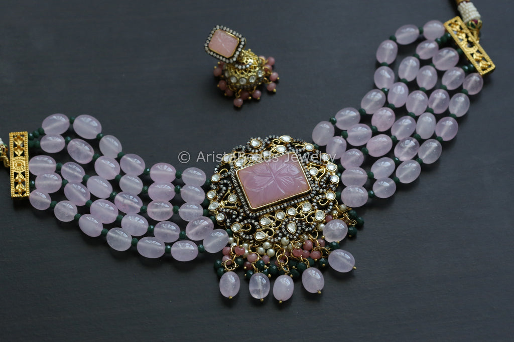 Contemporary Pink Kundan Choker Jhumka Set