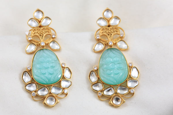 Carved Sea Green Stone Kundan Earrings