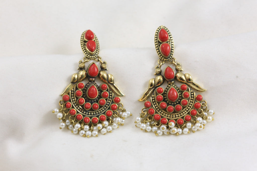 Silver Look Antique Earrings - Coral