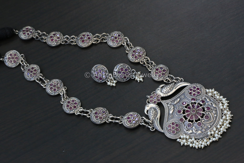 Silver Tone Long Brass Necklace -Ruby