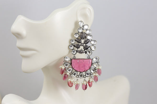 Pink Stone Kundan Earrings - Ruby Drops