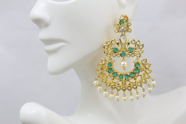 Emerald Polki Chandbaali