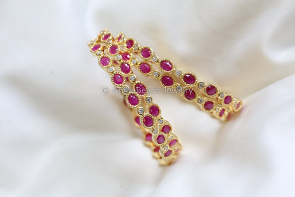 Ruby CZ Bangle Set (Set of 4)