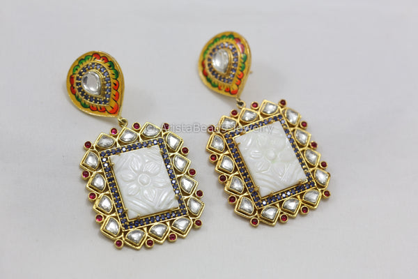 Handmade Enamel Carved Stone Kundan Earrings -White