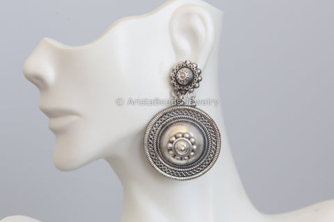 Silver Look Round Earrings