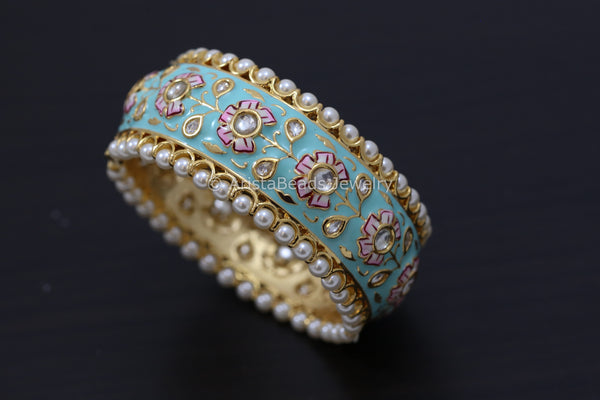 Handmade Enamel Kundan Bangle- Mint Green