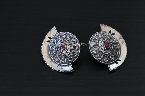 Silver Finish Half Moon Studs - Ruby