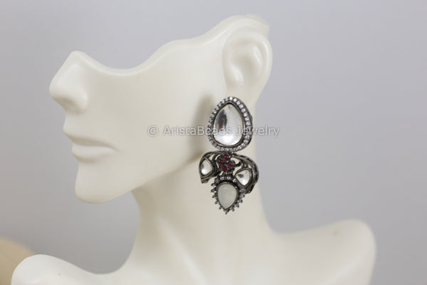 Oxidized Gray Kundan Earrings