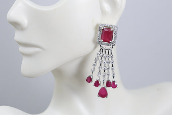 Small CZ Ruby Earrings