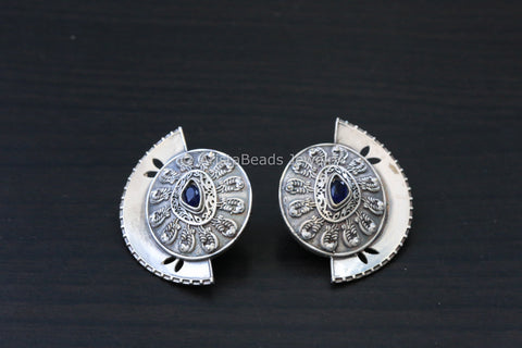 Silver Finish Half Moon Studs - Black