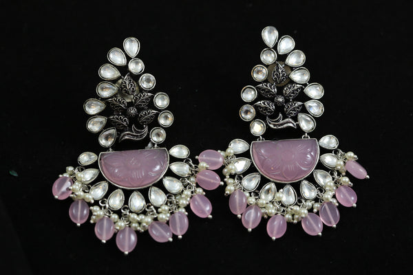 Pink Stone Kundan Earrings - Pink Drops