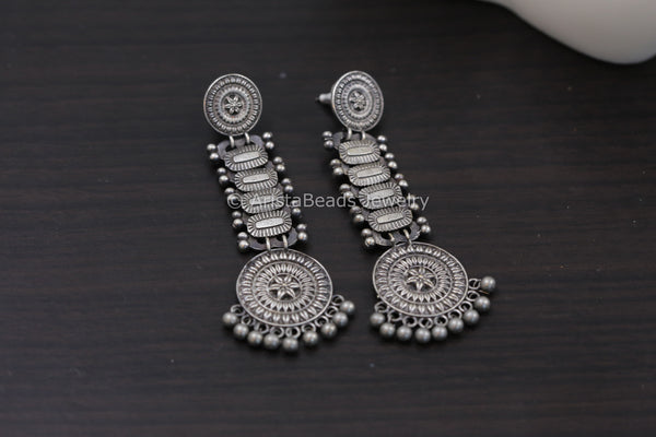 Silver Look Long Earrings