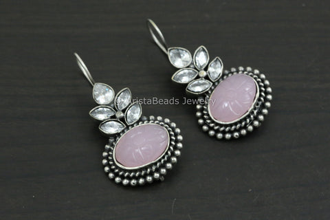 Silver Look Carved Stone Earring - Light Pink
