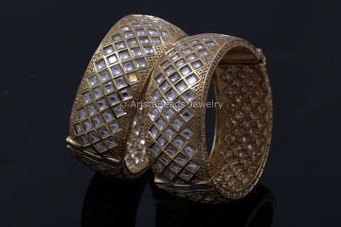 Rose Gold Premium Quality Polki Kundan Bangle