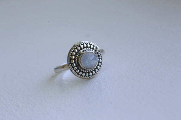 Delicate Rainbow Moonstone 925 Silver Ring - AristaBeads Jewelry - 3