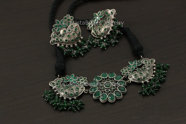 Silver Look Fish CZ Necklace Set - Green