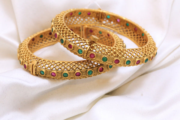 Antique Gram Gold Emerald Ruby Polki Bangle - AristaBeads Jewelry - 1