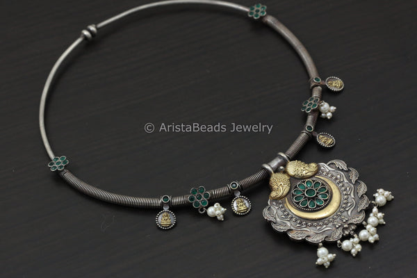 Dual Tone Green CZ Hasli Necklace