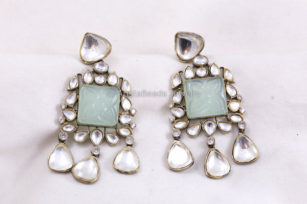 Light Sea Green Kundan Earrings